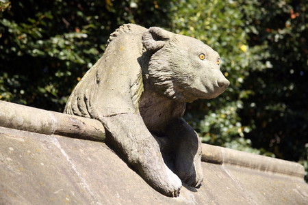 Bear Sculpture from the Animal Wall of Cardiff Castle, Wales, UK
