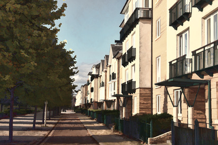 luxury home exterior: Modern new terraced houses and apartment flats in Cardiff, Wales, UK. Painting illustration effect image