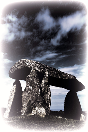 approx: Toned image of the Pentre Ifan, is a prehistoric megalithic communal stone, burial chamber which dates from approx 3500BC in Pembrokeshire, Wales, UK Stock Photo