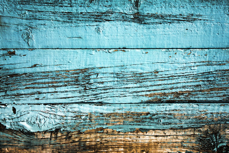Old blue weathered distressed wood oak plank background Stockfoto