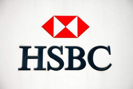 trademark: Carmarthen, Wales, UK, October 22, 2016 :  HSBC bank advertising sign outside their retail branch in Lammas Street