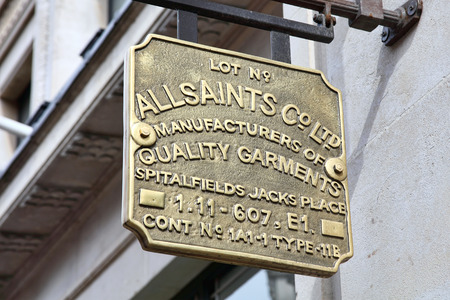 clothing stores: London, UK, April 2, 2011 : AllSaints logo advertising sign outside one of its clothing stores in Regents Street Editorial