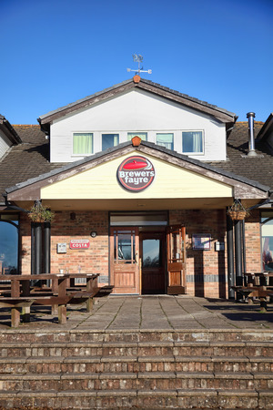 brewers: Llanelli, Wales, UK, December 4, 2016 : Brewers Fayre British pub food restaurant in Sandpiper Road outside the city centre