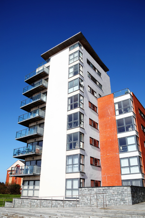 penthouse: Swansea, Wales, UK – March 31, 2017:  Modern luxury flat apartments in the city centre Editorial