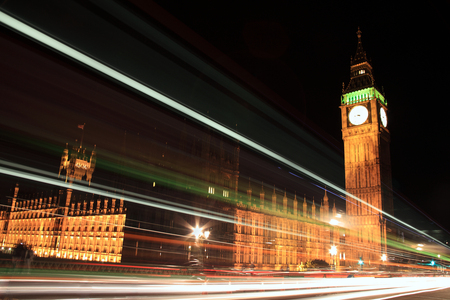 London, UK, September 13, 2011 : The Houses of Parliament at night with light trails from passing vehicles Editorial