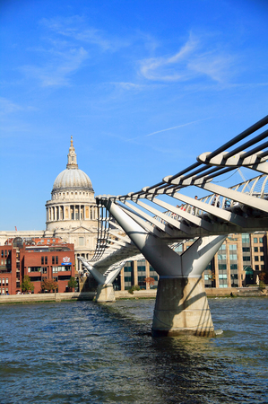 London, UK, October 11, 2008 :  The London Millennium Footbridge which is a steel suspension footbridge linking Bankside with  the city across the River Thames