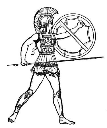 An engraved illustration of  a Roman gladiator from a Victorian book dated 1847 cut out and isolated on white