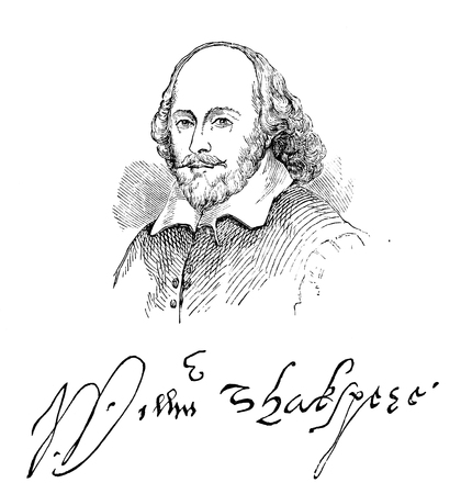 An engraved illustration image of the Elizabethan playwright William Shakespeare  and his signature, from a Victorian book dated 1883