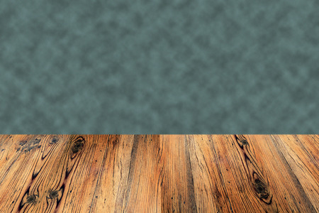 Old table bench wood  planks with mottled green background