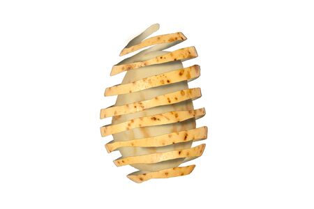 Surreal abstract composite image of how to peel a potato cut out and isolated on a white background Stock Photo