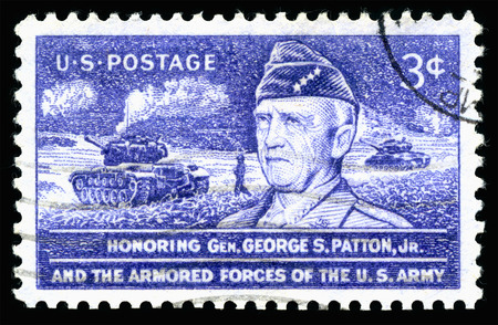 London, UK, February 19 2018 - Vintage 1953 United States of America cancelled postage stamp  Honouring General George S Patton Jr and the armored forces of the US Army
