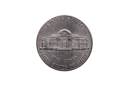 USA half dime nickel coin (25 cents) reverse showing Monticello cut out and isolated on a white background Standard-Bild - 107739830