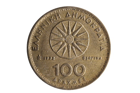 Greek 100 drachmas coin dated 1992 showing Star of Vergina the symbol of the Argead Dynasty cut out and isolated on a white background Standard-Bild - 107742297