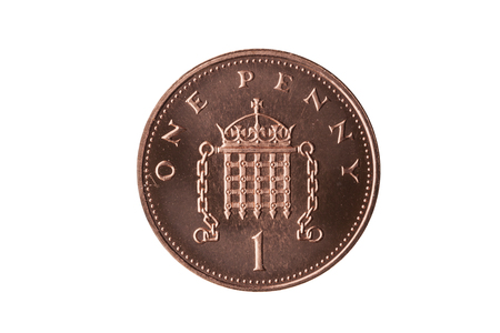 New one pence coin of England UK reverse portcullis cut out and isolated on a white background