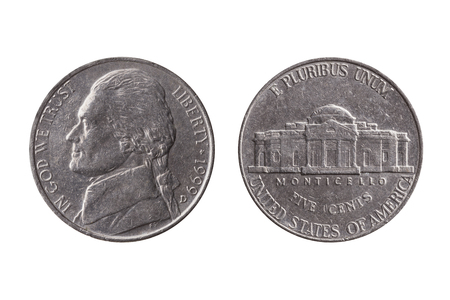 USA half dime nickel coin (25 cents) with a portrait image of Thomas Jefferson obverse and Montecello reverse cut out and isolated on a white background Stock Photo