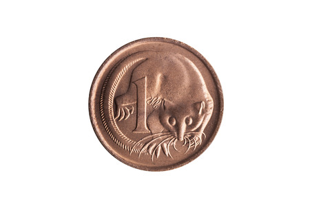 Australia one cent penny coin with an image of a Feathertail Glider possum cut out and isolated on a white background