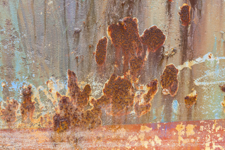 Rust covered weathered iron steel metal background with rusty peeling blistering paint Standard-Bild - 112456094