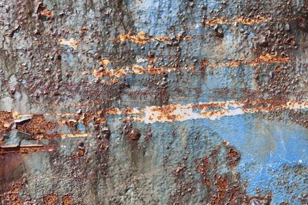 Rust covered weathered iron steel metal background with rusty peeling blistering paint Standard-Bild - 112456095