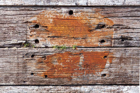 Old brown weathered distressed wood oak timber planks background stock photo