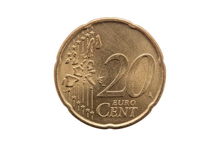 Twenty cent euro coin of Germany dated 2002 cut out and isolated on a white background Stock Photo