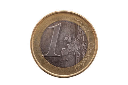One Euro coin of Germany dated 2002 cut out and isolated on a white background