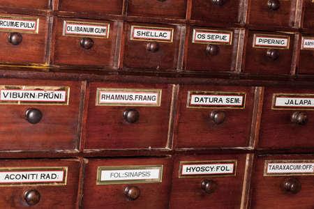 Vintage chemist pharmacy wooden drawer drugs storage