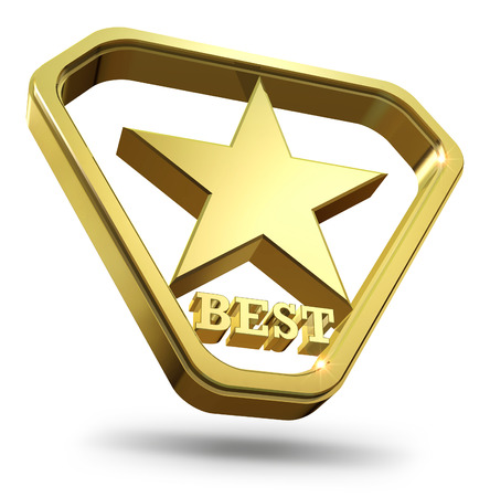 star award: Best rating award - shiny golden star in the golden triangle.