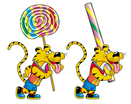 twirls: Tigers with lollipop stick and Twirls