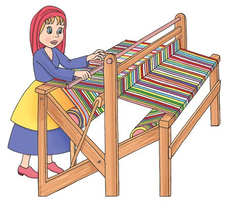 woo: Illustration of old wooden loom in weaving. Stock Photo