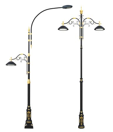 luminaire: Decorative street lamp post sets, 3D rendered. Isolated on white background.