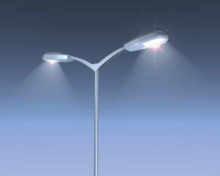city lights: 3D illustration of shining street lamps post on blue night sky.