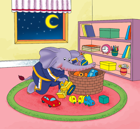 playtime: Little elephant picks up toys after playtime