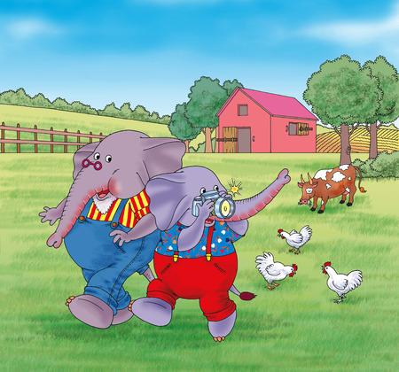 wildlife shooting: Little elephant taking photo of grandpas farm
