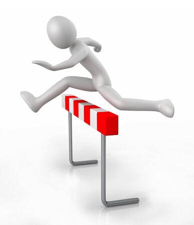 장벽 장애물 위로 점프 3D 남자 아이콘 - 흰색 배경에 고립 된 3D 그림 스톡 콘텐츠