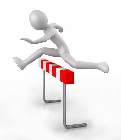 athleticism: 3d man icon jumping over the barrier obstacle - 3D illustration isolated on white background