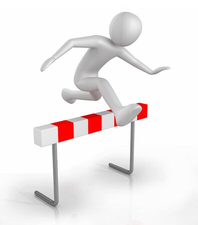 3d man icon jumping over the hurdle obstacle - 3D illustration on white background Stock Photo