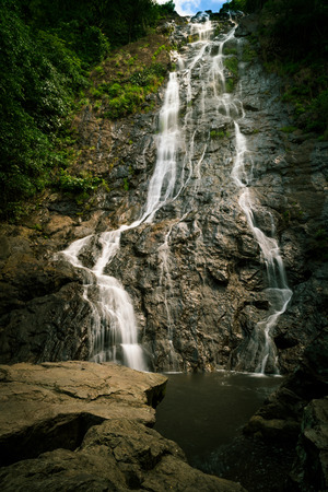Sarika Waterfall at Nakhon Nayok On June have a little water Stock Photo