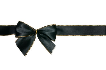 black silk: elegant black bow white isolated Stock Photo