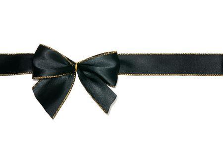 black ribbon: elegant black bow white isolated Stock Photo