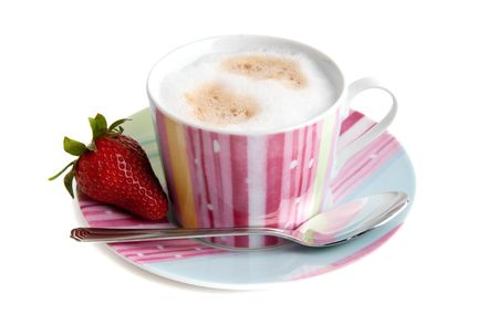 cappuchino: cup of cappuchino coffee with srawberry Stock Photo