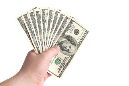 cash in hand: Celebraci�n de mil d�lares blanco aislado de mano