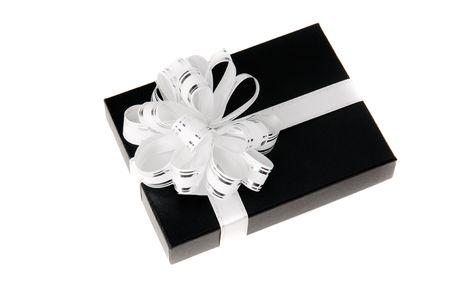 Black giftbox with whit knot white isolated photo