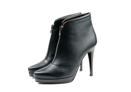 ankle: Stylish black leather womens ankle boots  white isolated