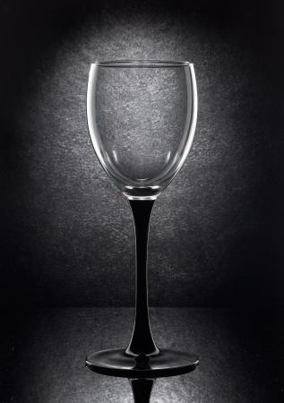 brandy glass: empty wine glass on a black background Stock Photo