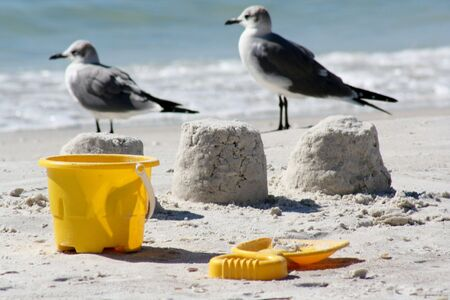Sandcastles, seagulls and bucket and space photo
