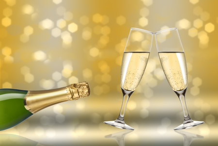 new year s eve: champagne toast background light
