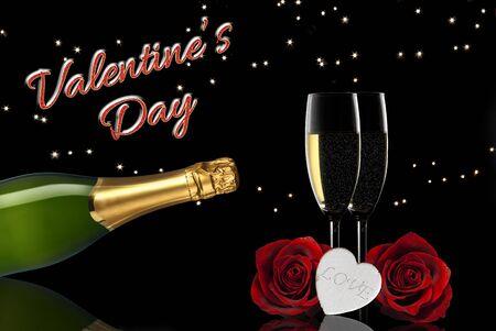 brindisi spumante: giorno brindisi di champagne di San Valentino Archivio Fotografico