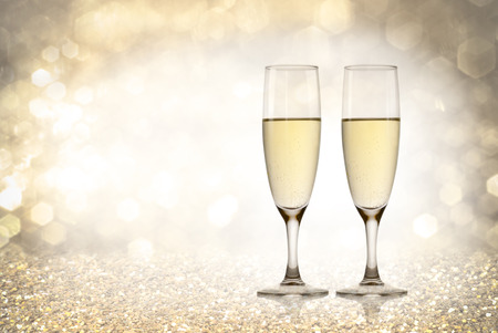 A Champagne Toast, Happy New Year, Golden Background Stock Photo ...