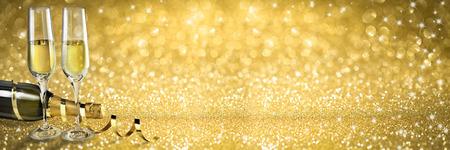 Champagne-Toast Neujahr Banner, goldenen Hintergrund