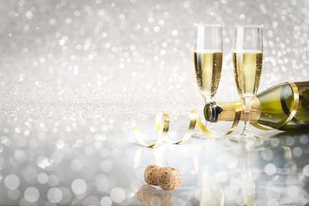 Toast champagne, silver background corck